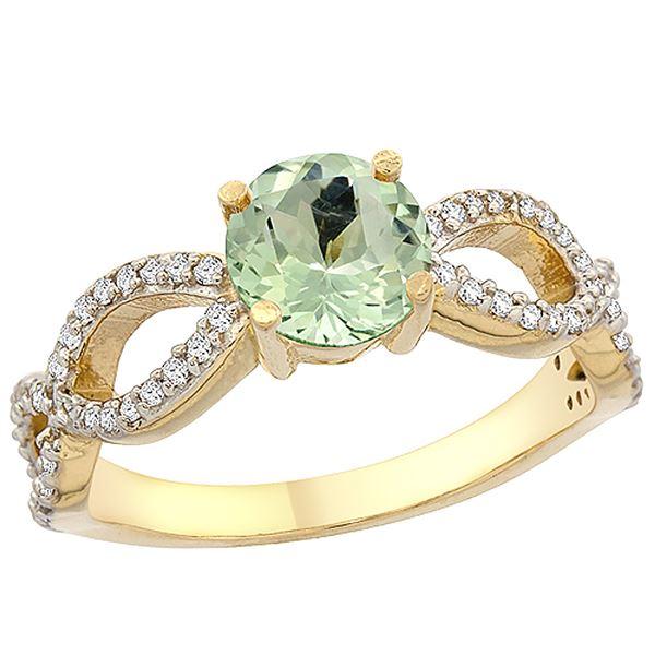1 CTW Amethyst & Diamond Ring 10K Yellow Gold - REF-49X6M