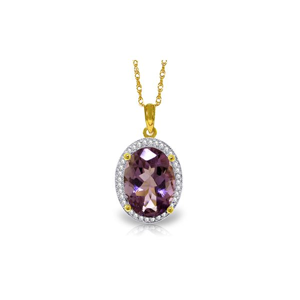 Genuine 5.28 ctw Amethyst & Diamond Necklace 14KT Yellow Gold - REF-70X6M