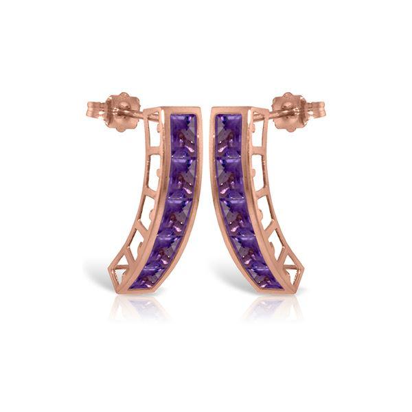 Genuine 4.5 ctw Amethyst Earrings 14KT Rose Gold - REF-38A5K