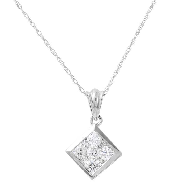 Natural 1 CTW Diamond Necklace 14K White Gold - REF-125X3T