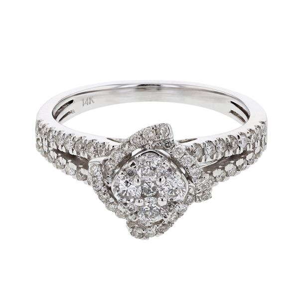 Natural 0.74 CTW Diamond Ring 14K White Gold - REF-84R6K