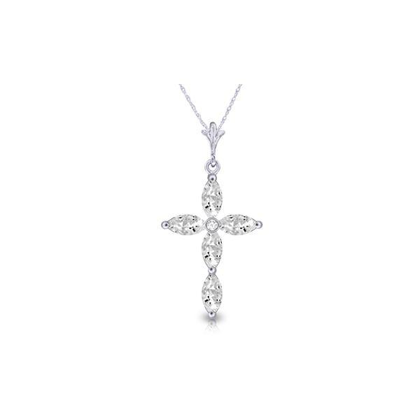 Genuine 1.23 ctw White Topaz & Diamond Necklace 14KT White Gold - REF-30H3X