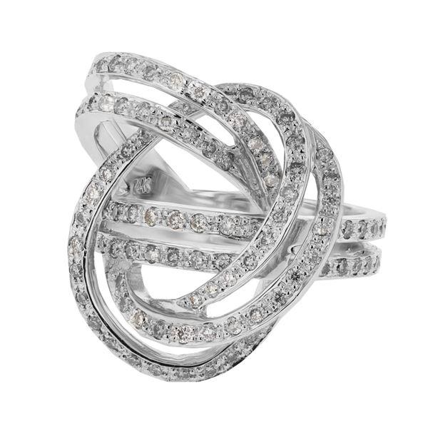 Natural 0.83 CTW Diamond Ring 14K White Gold - REF-109R8K