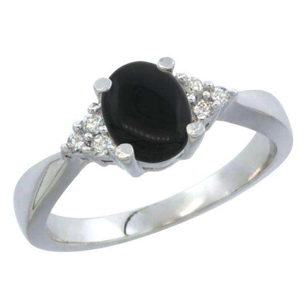 0.81 CTW Onyx & Diamond Ring 14K White Gold - REF-37N4Y