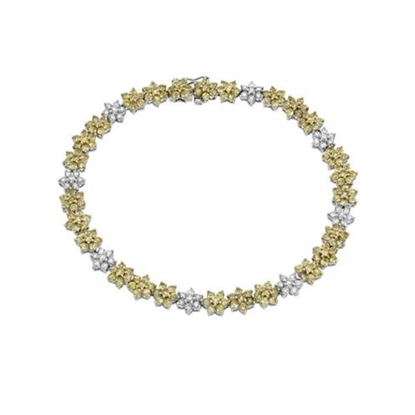 Natural 6 CTW Yellow Sapphire & Diamond Bracelet 14K White Gold - REF-143H3W