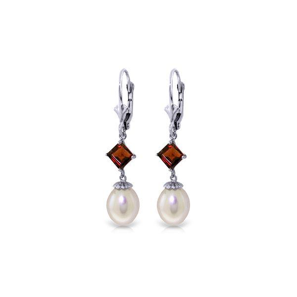 Genuine 9.5 ctw Pearl & Garnet Earrings 14KT White Gold - REF-24V4W