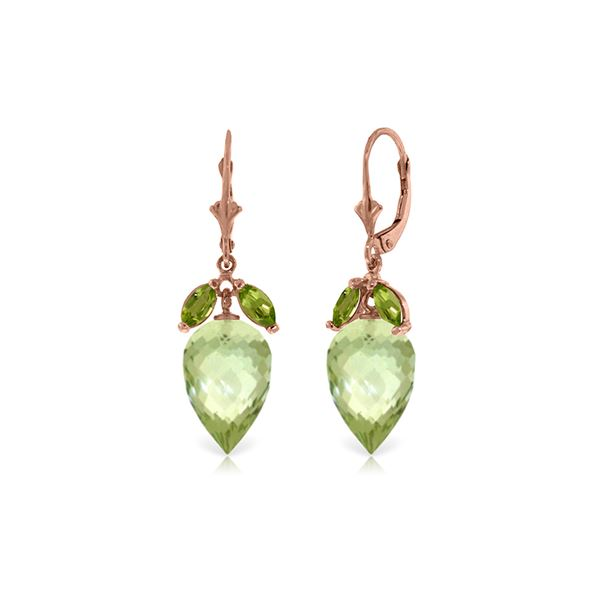 Genuine 20 ctw Green Amethyst & Peridot Earrings 14KT Rose Gold - REF-51P8H