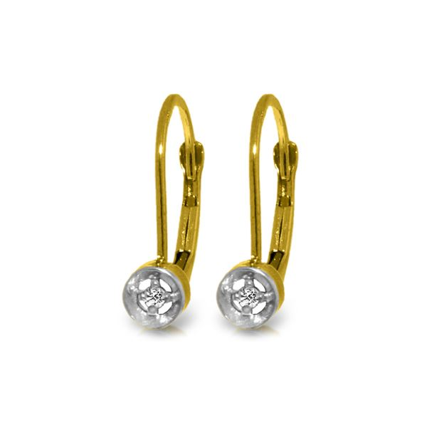 Genuine 0.03 ctw Diamond Anniversary Earrings 14KT Yellow Gold - REF-22V8W
