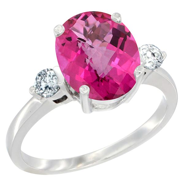 2.60 CTW Pink Topaz & Diamond Ring 14K White Gold - REF-68F6N