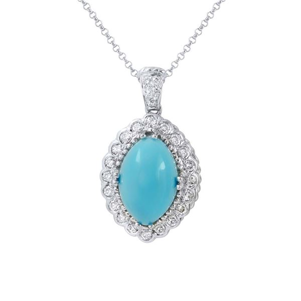 Natural 4.13 CTW Turquoise & Diamond Necklace 14K White Gold - REF-72Y9N