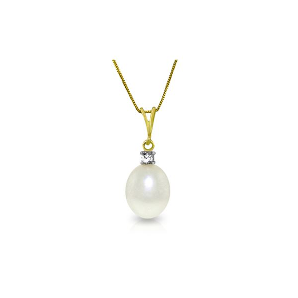 Genuine 4.05 ctw Pearl & Diamond Necklace 14KT Yellow Gold - REF-21Y2F