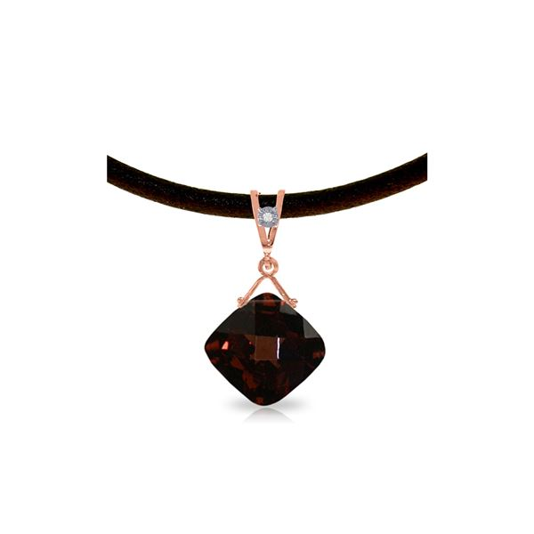 Genuine 8.76 ctw Garnet & Diamond Necklace 14KT Rose Gold - REF-46V2W