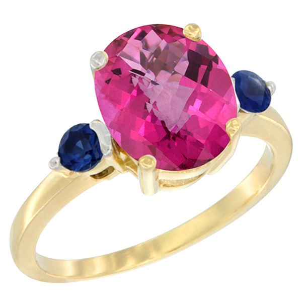 2.64 CTW Pink Topaz & Blue Sapphire Ring 14K Yellow Gold - REF-32W3F