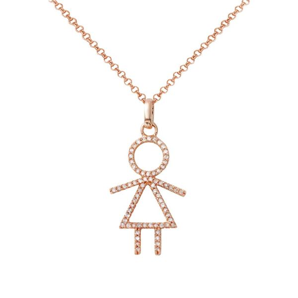 Natural 0.24 CTW Diamond Necklace 14K Rose Gold - REF-34Y2N