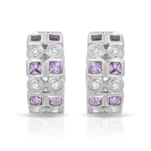 Natural 1.38 CTW Pink Sapphire & Diamond Earrings 18K White Gold - REF-112R5K