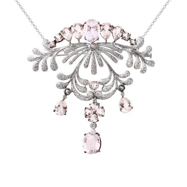 Natural 22.73 CTW Morganite & Diamond Necklace 18K White Gold - REF-404H3W