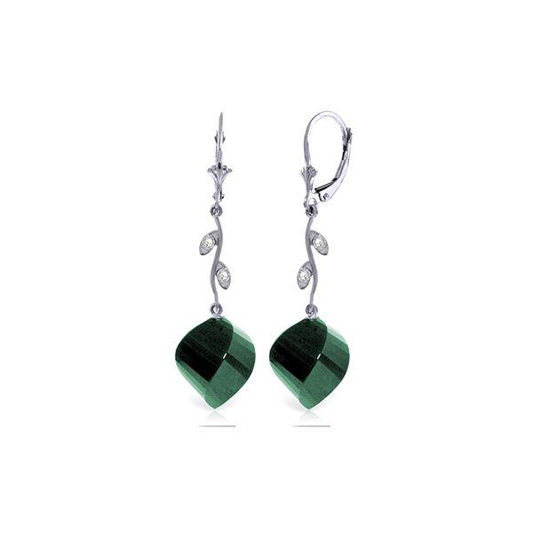 Genuine 30.52 ctw Green Sapphire Corundum & Diamond Earrings 14KT White Gold - REF-66X2M