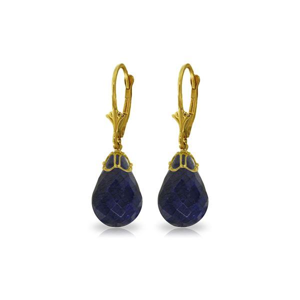 Genuine 29.6 ctw Sapphire Earrings 14KT Yellow Gold - REF-40V7W