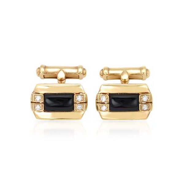Natural 2.69 CTW Agate & Diamond Cuff Links 18K Yellow Gold - REF-158X4T
