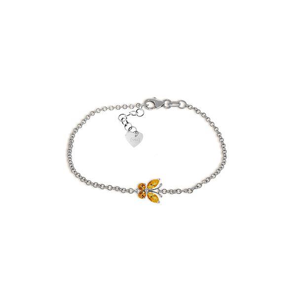 Genuine 0.60 ctw Citrine Bracelet 14KT White Gold - REF-41H6X