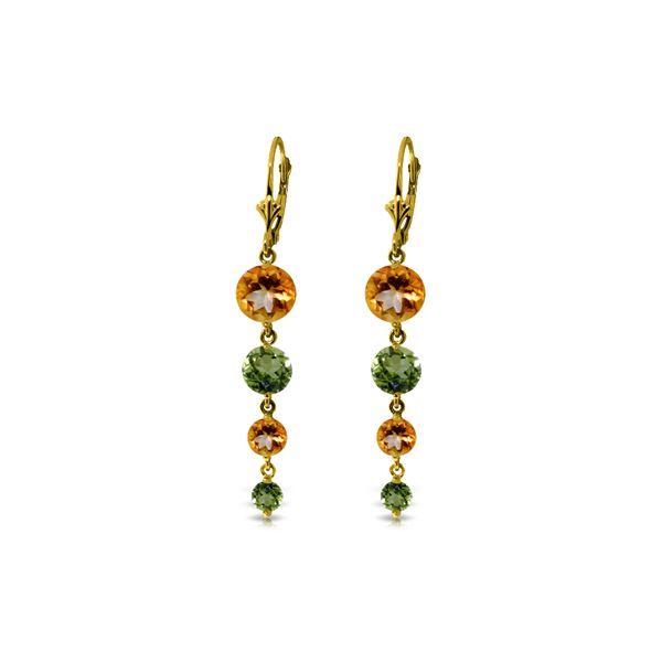 Genuine 7.8 ctw Citrine & Peridot Earrings 14KT Yellow Gold - REF-46Y3F