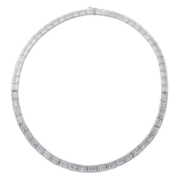 Natural 6.43 CTW Diamond & Princess Diamond Necklace 14K White Gold - REF-902X7T