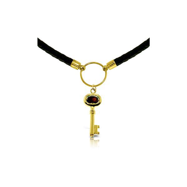 Genuine 0.50 ctw Garnet Necklace 14KT Yellow Gold - REF-65Z8N