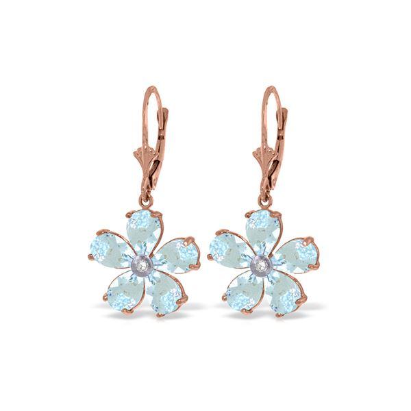 Genuine 4.43 ctw Aquamarine & Diamond Earrings 14KT Rose Gold - REF-62Y6F