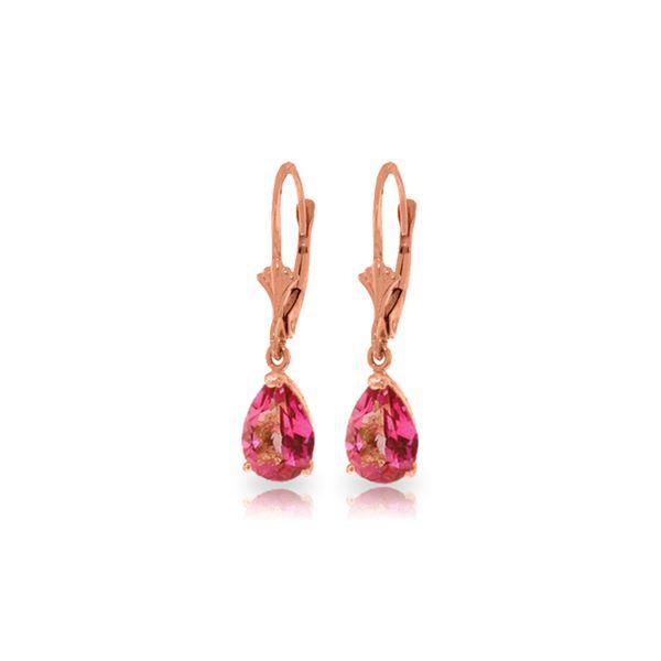 Genuine 2.85 ctw Pink Topaz Earrings 14KT Rose Gold - REF-29W3Y