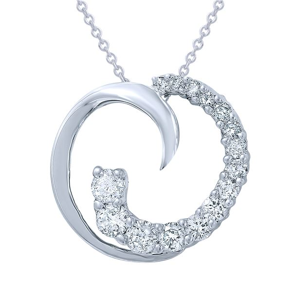Natural 0.63 CTW Diamond Necklace 14K White Gold - REF-73M8F
