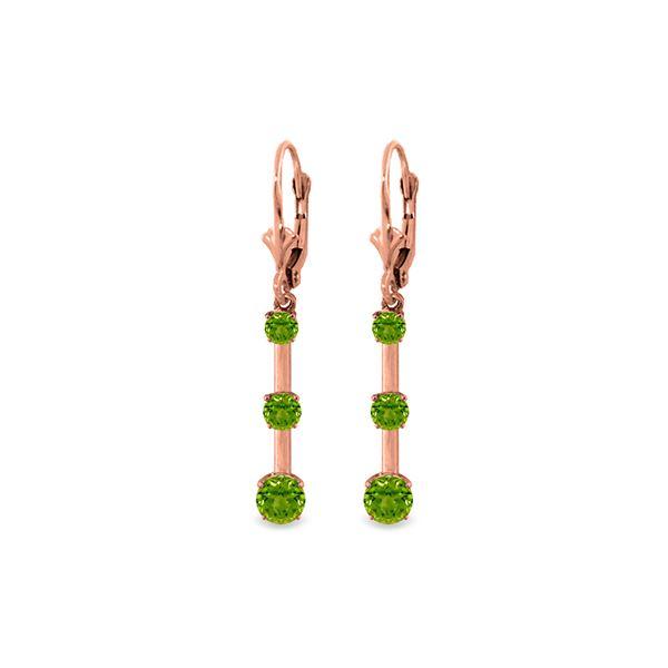 Genuine 2.5 ctw Peridot Earrings 14KT Rose Gold - REF-39H3X