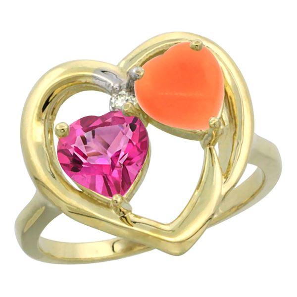 1.31 CTW Pink Topaz & Diamond Ring 14K Yellow Gold - REF-33F5N
