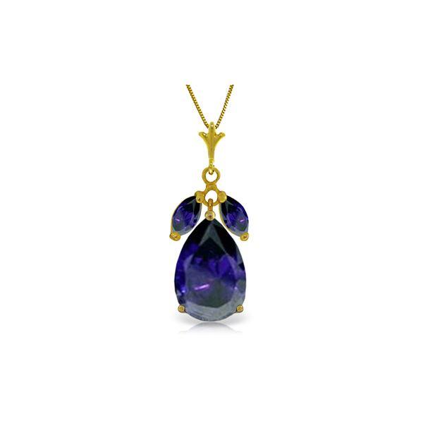 Genuine 5.15 ctw Sapphire Necklace 14KT Yellow Gold - REF-53X2M