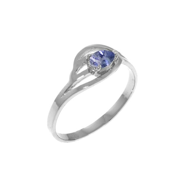 Genuine 0.30 CTW Tanzanite Ring 14KT White Gold - REF-32F8Z