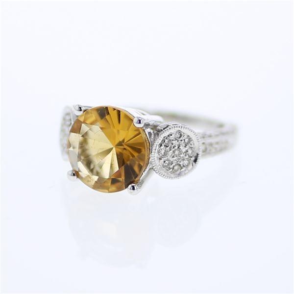 Natural 4.45 CTW Citrine & Diamond Ring 18K White Gold - REF-108M2F