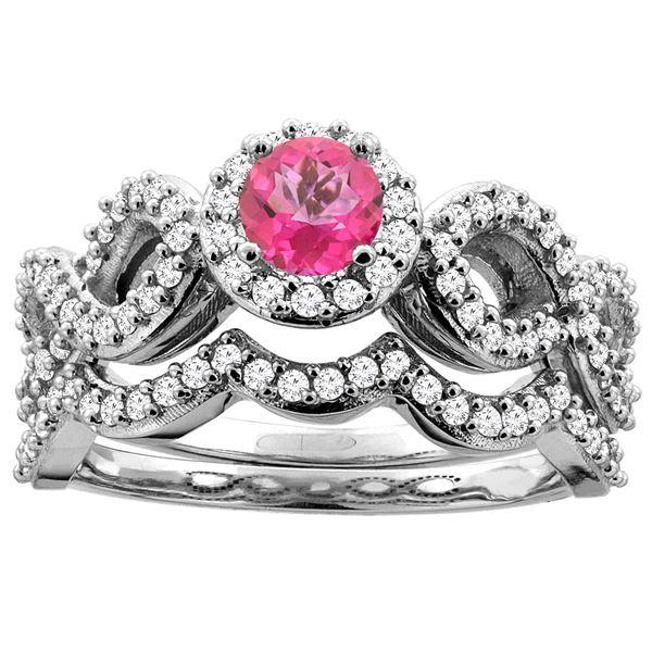 1.06 CTW Pink Topaz & Diamond Ring 14K White Gold - REF-93V3R