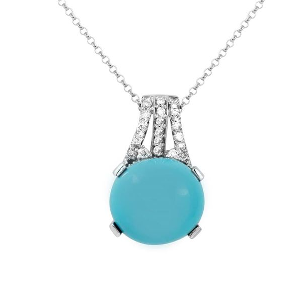 Natural 6.44 CTW Turquoise & Diamond Necklace 14K White Gold - REF-54H9W