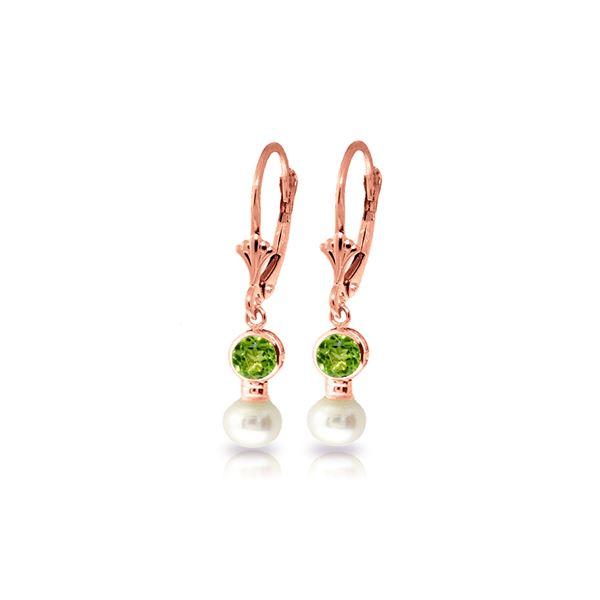 Genuine 5.2 ctw Peridot & Pearl Earrings 14KT Rose Gold - REF-35T9A