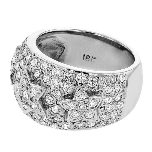 Natural 1.72 CTW Diamond Ring 18K White Gold - REF-222R3K