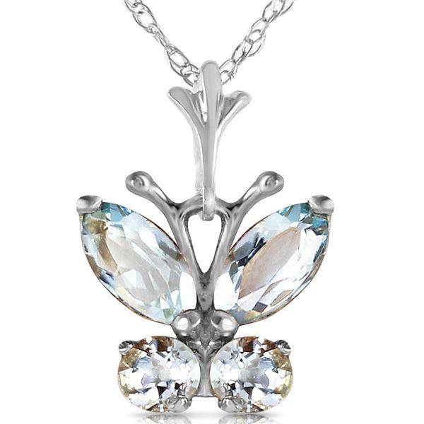 Genuine 0.60 ctw Aquamarine Necklace 14KT White Gold - REF-25Z2N