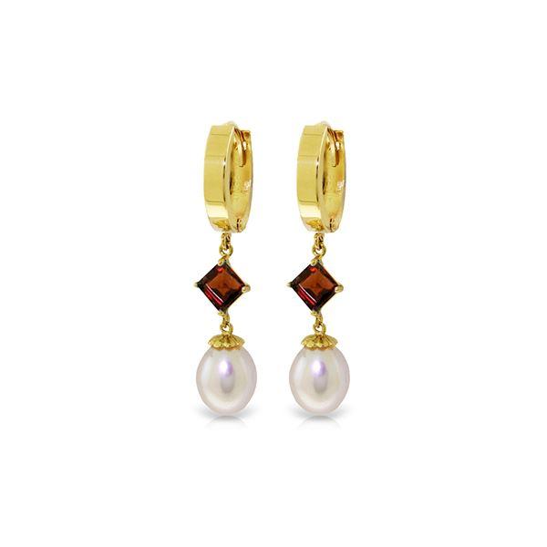Genuine 9.5 ctw Pearl & Garnet Earrings 14KT Yellow Gold - REF-53Z2N
