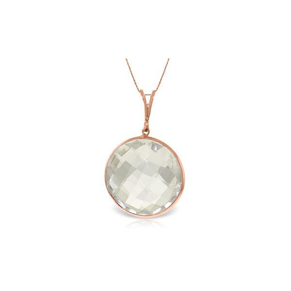 Genuine 18 ctw White Topaz Necklace 14KT Rose Gold - REF-39Y8F