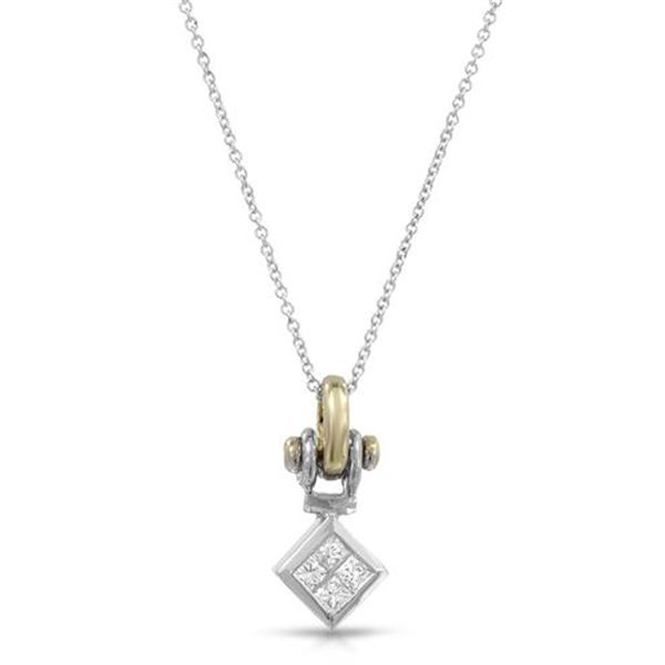 Natural 0.29 CTW Princess Diamond Necklace 18K Two Tone Yellow Gold - REF-67X5T