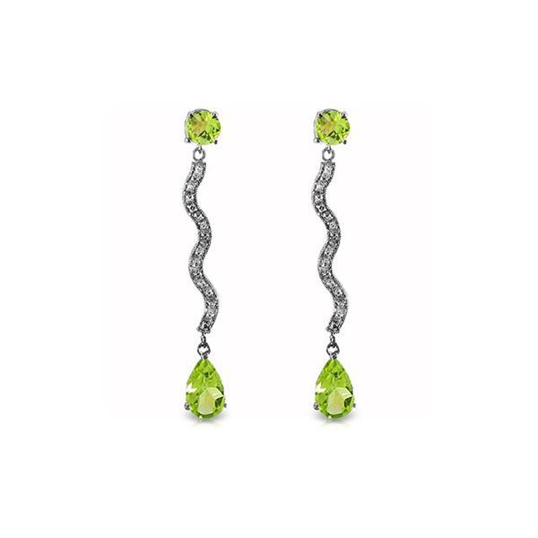 Genuine 4.35 ctw Peridot & Diamond Earrings 14KT White Gold - REF-62M3T