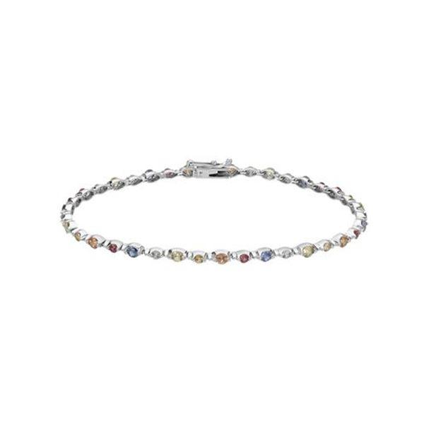 Natural 4.59 CTW Multi-Sapphire Bracelet 14K White Gold - REF-161X3T