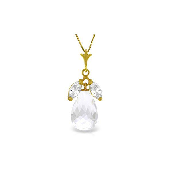 Genuine 7.2 ctw White Topaz Necklace 14KT Yellow Gold - REF-30X5M