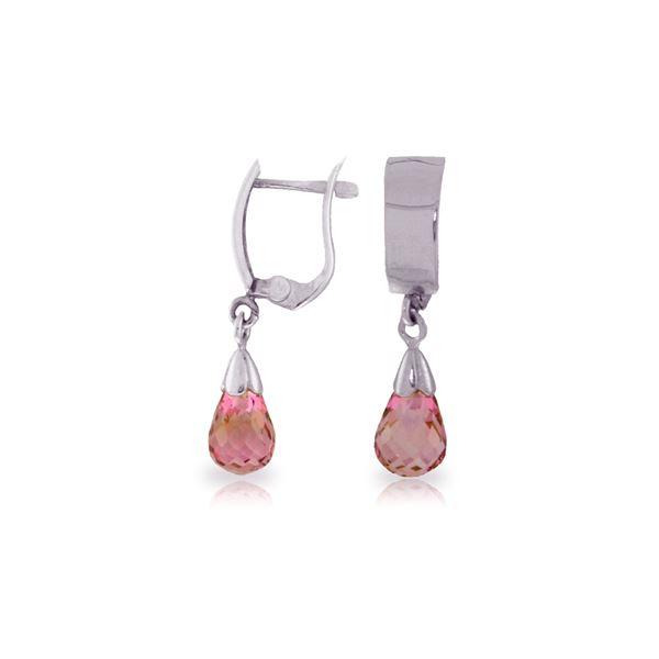 Genuine 2.5 ctw Pink Topaz Earrings 14KT White Gold - REF-22X3M