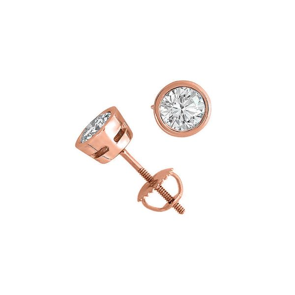 14K Rose Gold 2.05 ctw Natural Diamond Stud Earrings - REF-519G2A