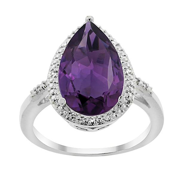 5.55 CTW Amethyst & Diamond Ring 14K White Gold - REF-44N9Y