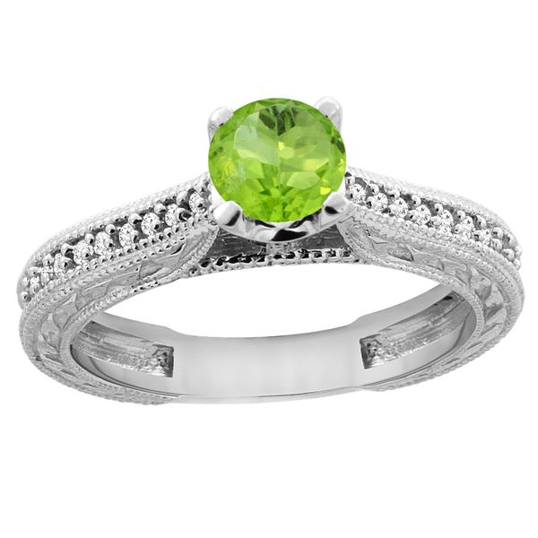 0.60 CTW Peridot & Diamond Ring 14K White Gold - REF-53Y2V